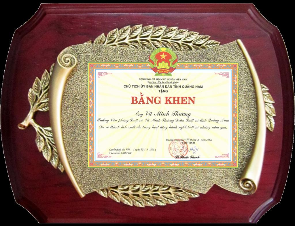 Vinh dự nhận bằng khen của UBND tỉnh Quảng Nam